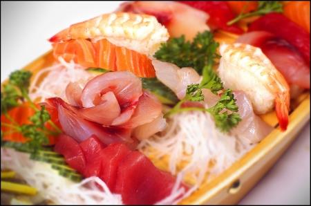 sortment of sashimi and sushi