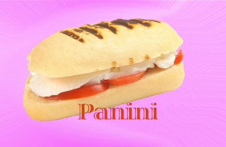Panini sandwich with text photo
