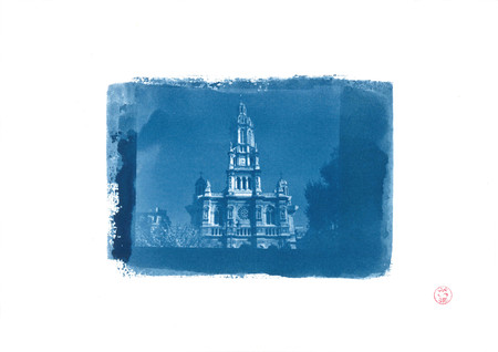 The Trinita church in cyanotype