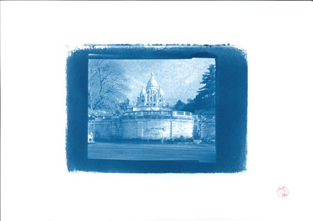 The Basilica sacred heart in cyanotype Publikacyjne
