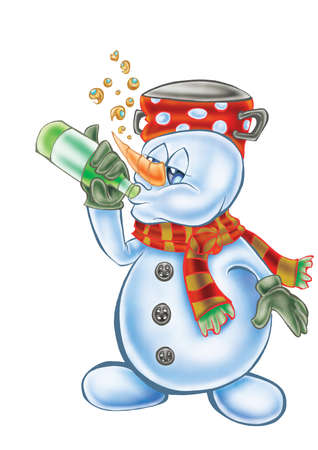 Mascot of drunk snowman  isolated on white Imagens