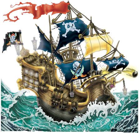 illustration of sailing pirate ship isolated on white background