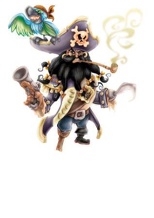 illustration of sailing pirate isolated on white background