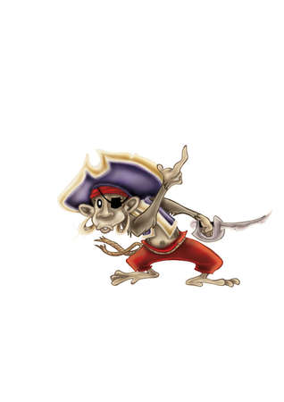 Illustration of sailing monkey pirate isolated on white background