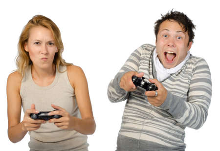 A couple playing a console game. photo