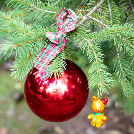 red Christmas ball and toy on fir branch photo