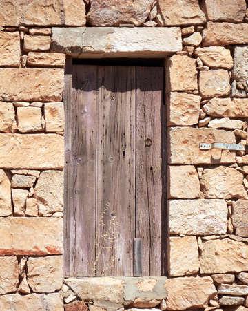 traditional Greek stone house door photo