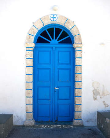 traditional Greek church blue door Stock Photo - 10523174