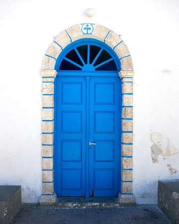 traditional Greek church blue door Stock Photo - 10523174