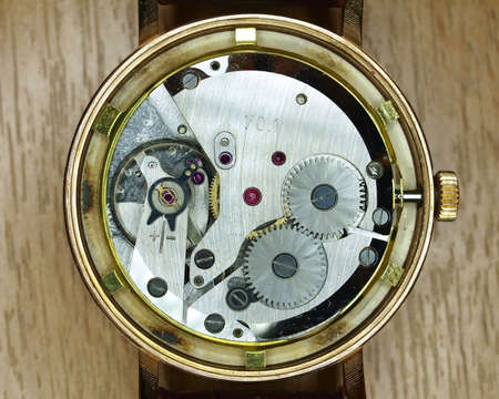 watch mechanism closeup photo