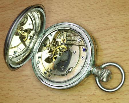 old vintage  watch mechanism closeup Stock Photo - 14407421