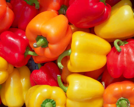 colorful bell peppers, natural background photo