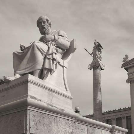 プラトン哲学と知恵と哲学の女神アテナ 写真素材
