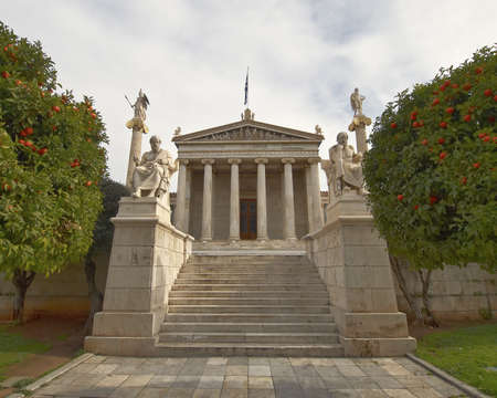 The National academy, with Apollo, Athena, Plato and Socrates statues, Athens Greece