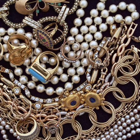 fashion jewelry: variety of jewels, precious background