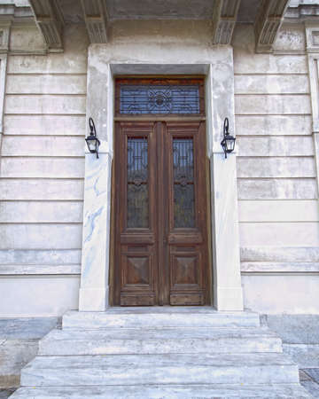 elegant house door, Athens Greece photo