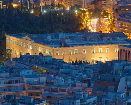 The Greek parliament at twilight, Athens Greece photo