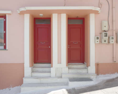 twin elegant house doors in Greece photo