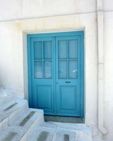 andros: blue house door in Greece Stock Photo