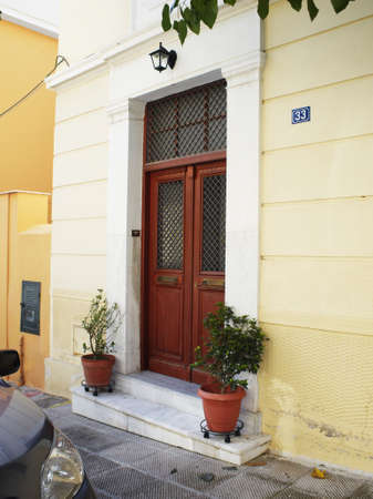 Elegant house door in Athens - Greece photo