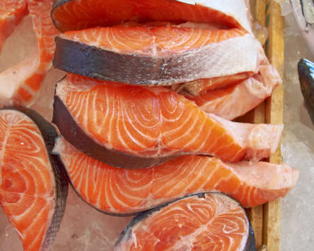 fresh salmon cut for sale photo
