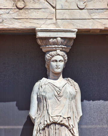 Caryatid detail, Acropolis of Athens, Greece photo