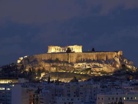 Parthenon and Acropolis in the twilight photo