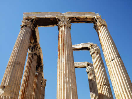 olympian: Olympian Zeus temple central perspective view Stock Photo
