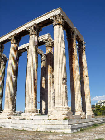 Ruins of Olympian Zeus temple, Greek blue sky  photo