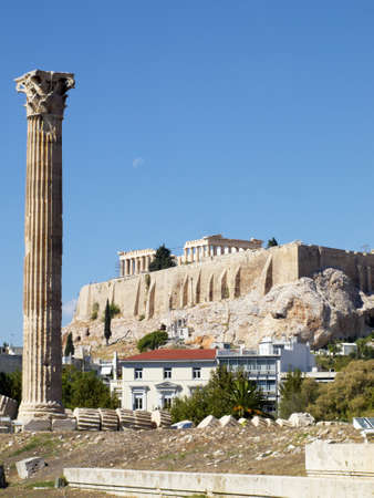 olympian: Ruins of Olympian Zeus temple, and Parthenon, Acropolis of Athens