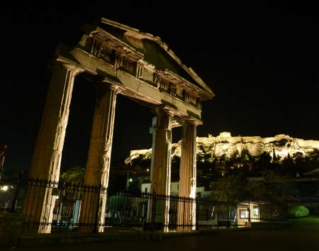 Acropolis lit in the night, northern facade photo