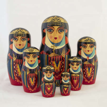seven elegant Russian nesting dolls, babushkas photo