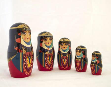 matroshka: five elegant Russian nesting dolls, babushkas