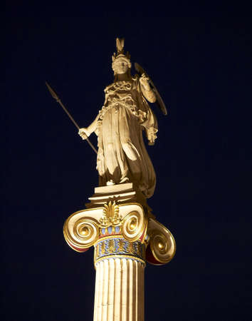 statue of Athena at the  Academy of Athens   Greece , night view