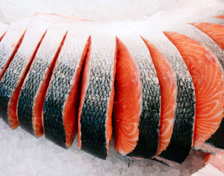 fresh salmon fish cut for sale  photo
