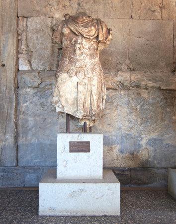 beheaded: Odyssey statue, Attalus arcade, Athens Greece