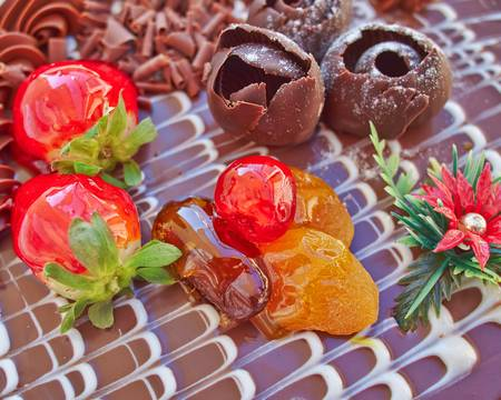chocolate cake with strawberries and fruits, sweet background photo