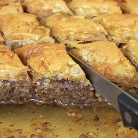 baklawa: traditional middle east sweet desert, baklava