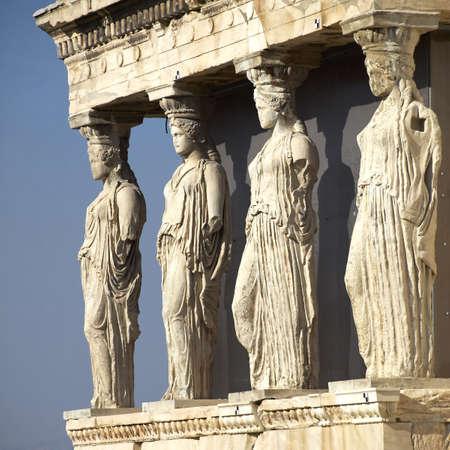 Caryatides, erechteion temple  Acropolis, Athens Greece