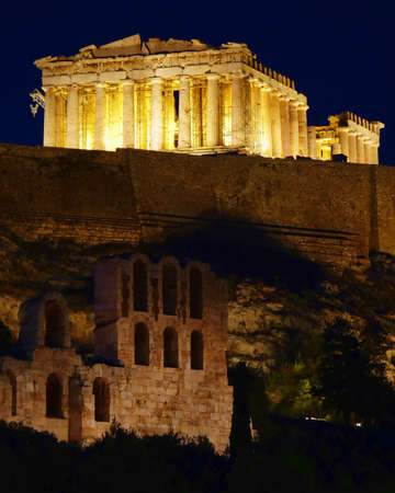 Parthenon illuminated, Acropolis of Athens, Greece photo
