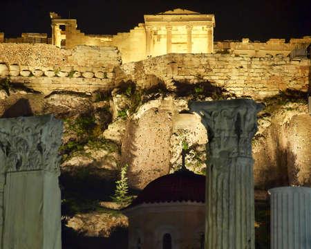 Acropolis of Athens,  Erechtheion temple night view photo