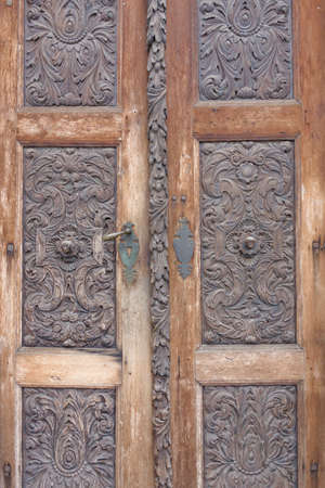 view of a wooden doorway: old wooden vintage door detail