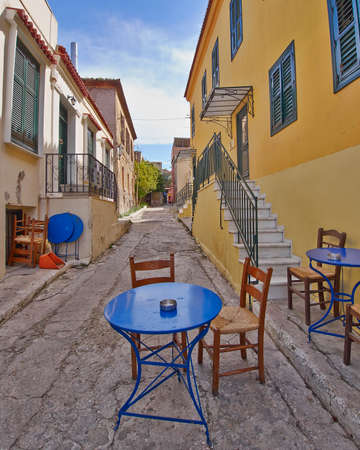 picturesque alley and coffee shop in Plaka, Athens Greece photo