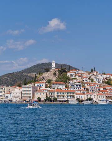 poros: mediterranean island view, Poros Greece Stock Photo