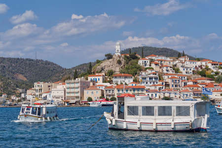 poros: boats and Poros island port, Greece