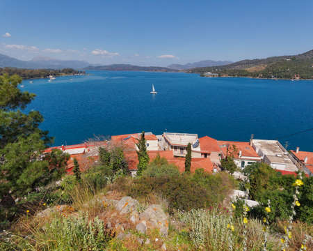 poros: panoramic sea view from Poros island, Greece  Stock Photo