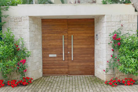 front door: Contemporary elegant house entrance Stock Photo
