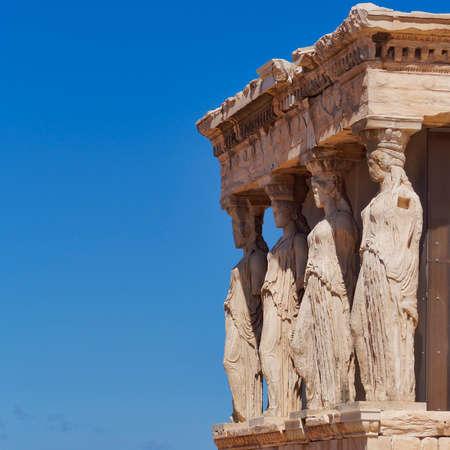 caryatids: Caryatids, erechtheion temple Acropolis, Athens Greece  Stock Photo