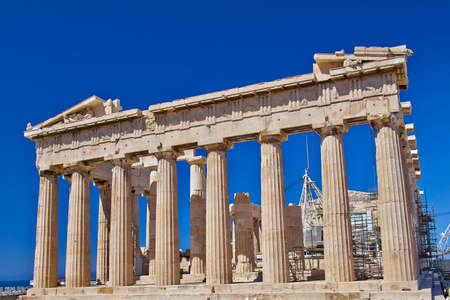 古代ギリシャの神殿、アクロポリスのアテネ パルテノン神殿 写真素材