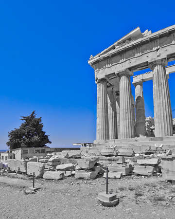 Parthenon, ancient Greek temple, in black, white and blue photo